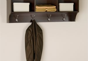 Wooden Standing Coat Rack Entryway Shelf with Hooks Cole Papers Design