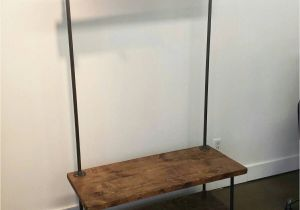 Wooden Standing Coat Rack Industrial Pipe and Wood Entry Coat Rack Bench Entrance Bench