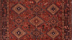 Wool oriental Rugs 9×12 Persian Gharadjeh Red Rectangle 9×12 Ft Wool Carpet 16769