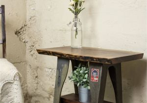 Wrought Iron End Tables Living Room Industrial End Table Made with Live Edge Walnut and Vintage Cast