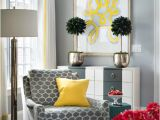 Yellow Green Accent Chair Gray Corner Reading Chair with Canary Yellow Pillow